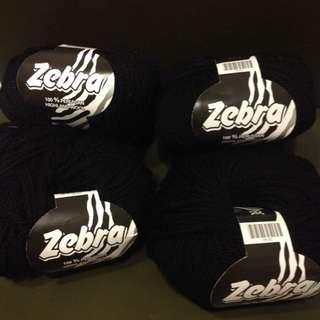 黑色毛線 降價 zebra  #34 黑色 100%wool
