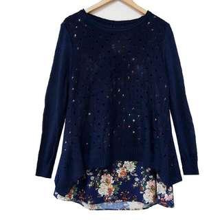 👉現貨全新👈兩件套碎花背心+洞洞針織罩衫♧深藍♧