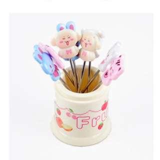 可愛卡通動物水果叉 叉子 牙籤 餐具(8支裝)#Z090