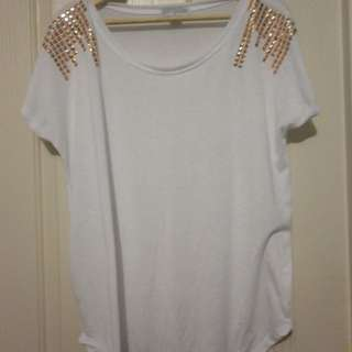 Cotton on white t-shirt withg rose gold studded shoulders - Size S, worn once