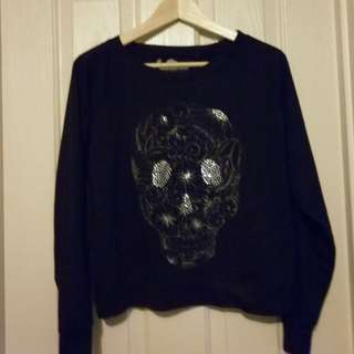 Black sweater with Crystal skull design - Size M (small fit size 10)