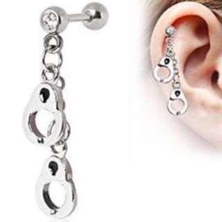 Dangling Handcuff Barbell Earring (Helix/Cartilage Piercing)