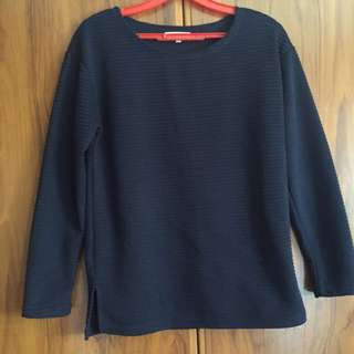 Temt Navy Textured Sweater Blouse