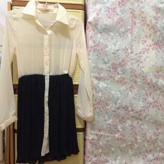 二手👗米白拼黑絲質連身洋裝