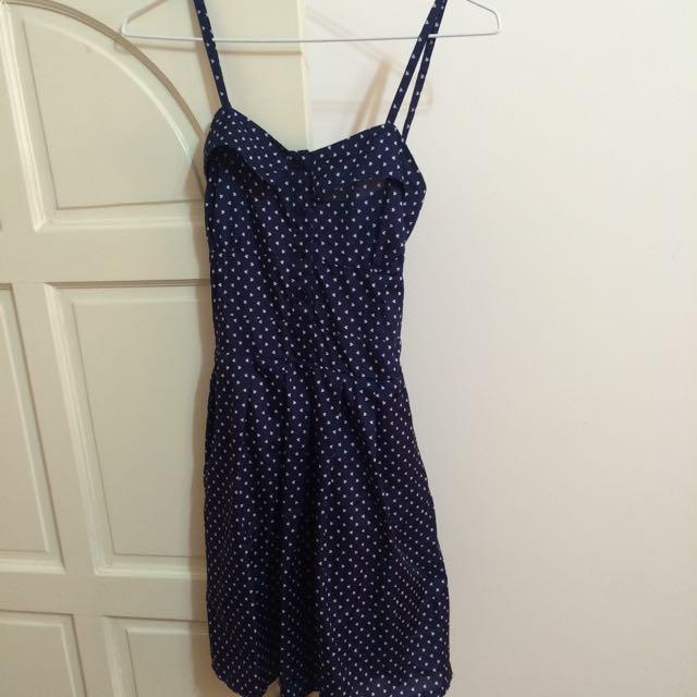 深藍細肩愛心滿版洋裝