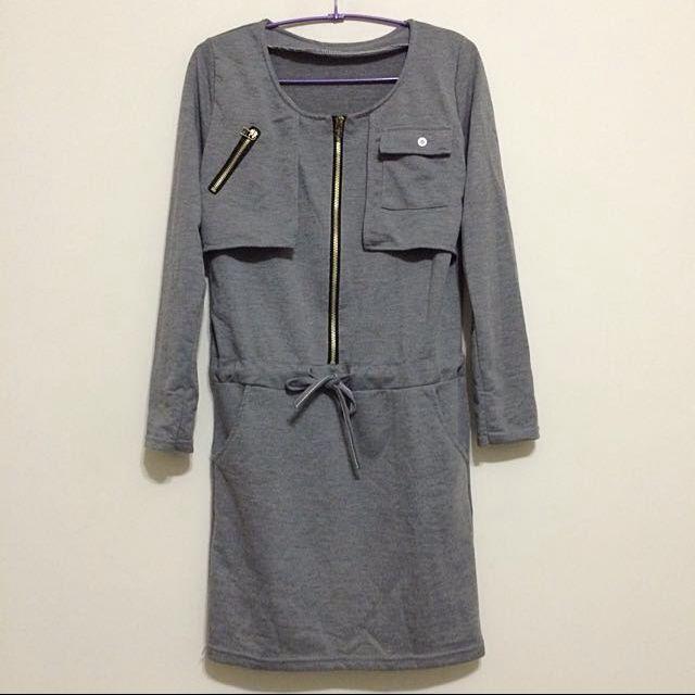 灰色 長版 洋裝