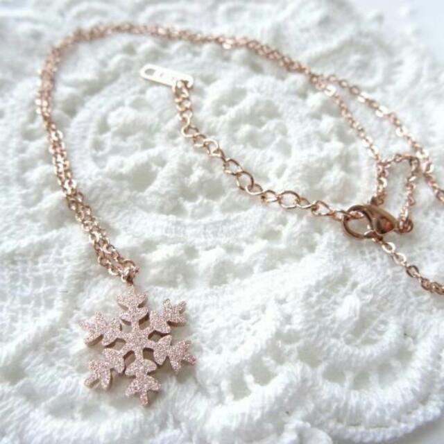 韓國項鍊 鈦鋼玫瑰金 聖誕雪花版 項鍊