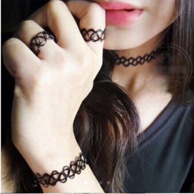 刺青手鍊 +頸鍊+戒指 三個一組 超便宜😱