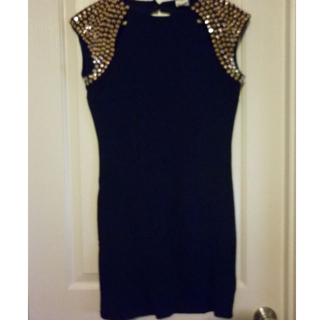 Angel Biba black body-con dress with Rose gold studded sleeves - Size 12, worn once