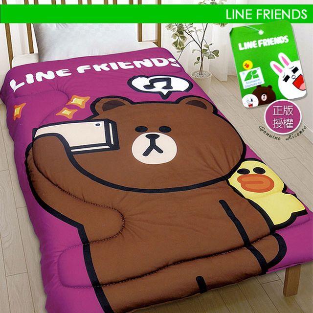 【CERES】LINE授權厚感搖粒絨暖暖被/毯被 熊大愛自拍-共兩色
