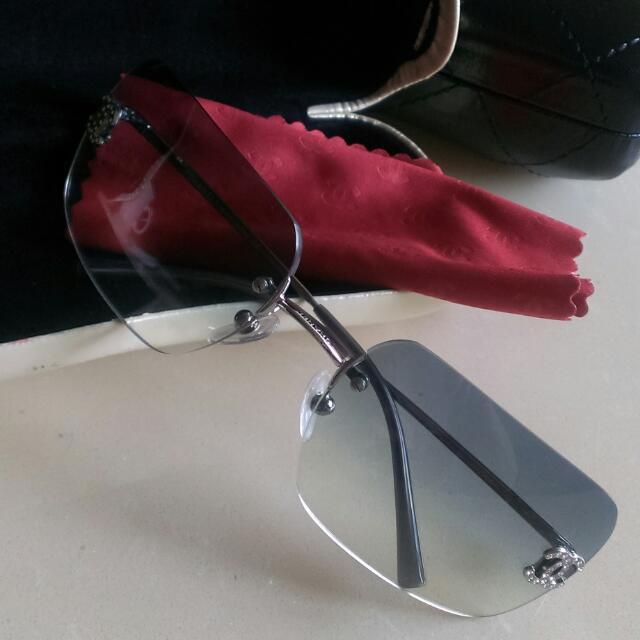《保留中》🎆黑貓免運🎆 Chanel / 香奈兒 藍色漸層水鑽 墨鏡/太陽眼鏡