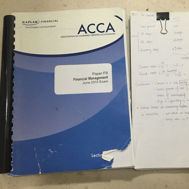 kaplan ACCA books--F9,includes lecture notes,exam kit