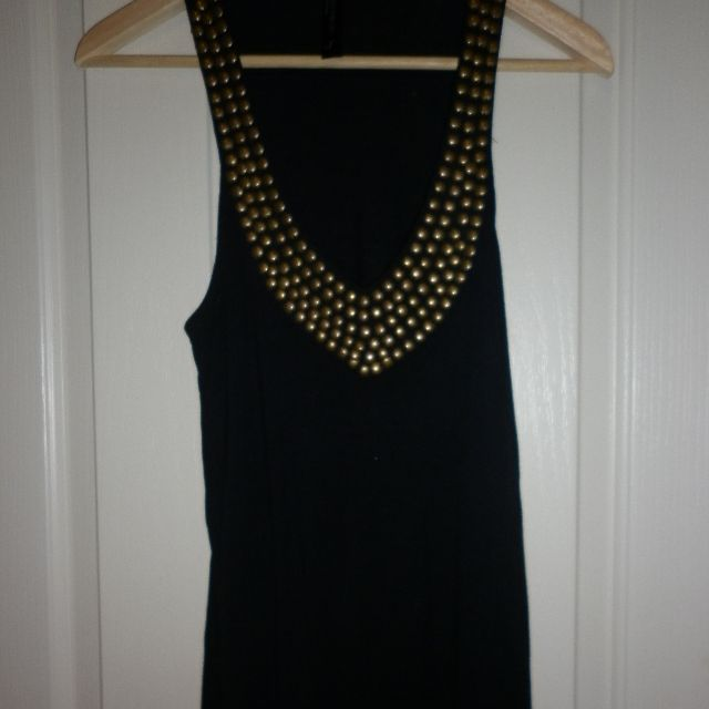 long black singlet with neck detail - size S, cotton on, perfect condition
