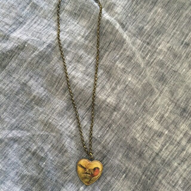 Robin Red Heart Necklace On Brass Colour Chain