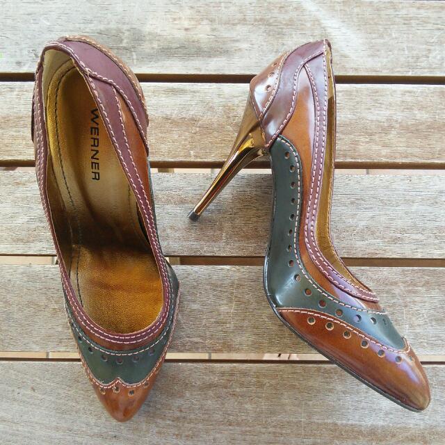 Werner Ladies Leather Stilettos Size 37 AUS 6/6.5