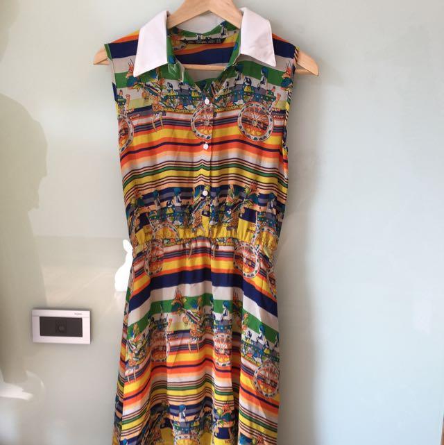 全新Zara 熱帶風情俏皮無袖洋裝