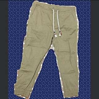 保留中(二手)$100 民族風 抽繩 彈性 褐色 韓風 休閒褲 咖啡色 奶茶色