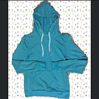 售出)$100 S-M號 藍綠色 帽T 休閒上衣 特殊色 亮色