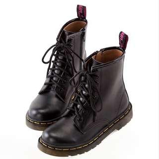 Gracegift 復古牛皮拉鍊馬丁靴 24號黑色