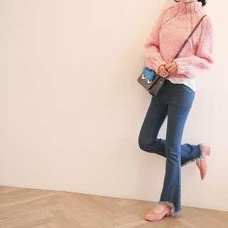 正韓NANING9時尚甜美百搭粉色高領粗線毛衣針織衫【NO520090】