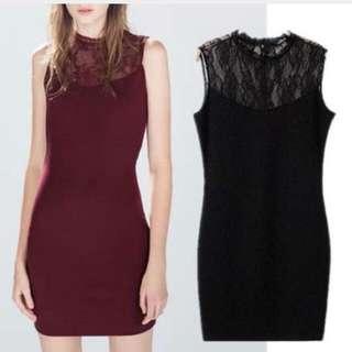 Zara 酒紅蕾絲洋裝(全新未穿過)