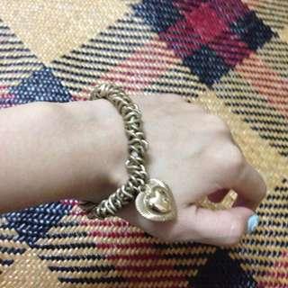 h&m 造型愛心手環 手鍊。古銅金 復古色