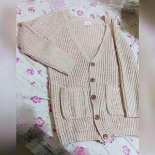 厚混紡針織外套