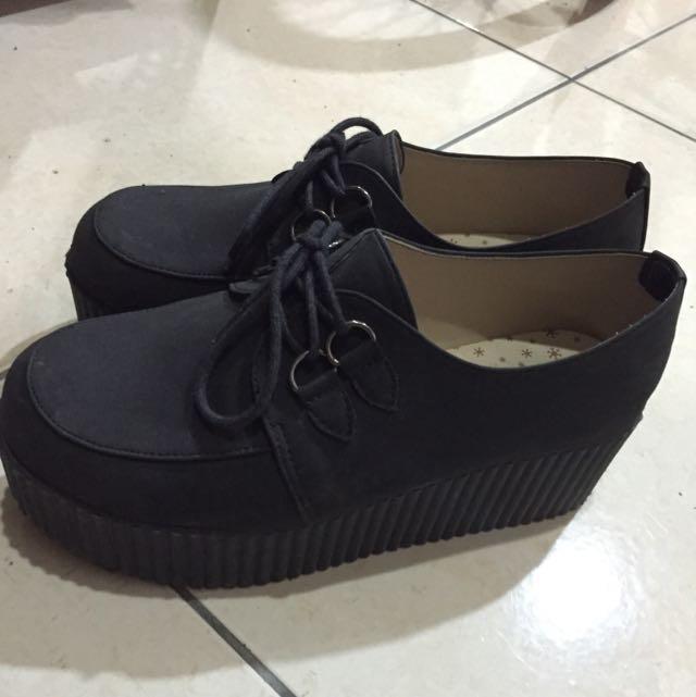 黑色厚底鞋/23/穿過1次