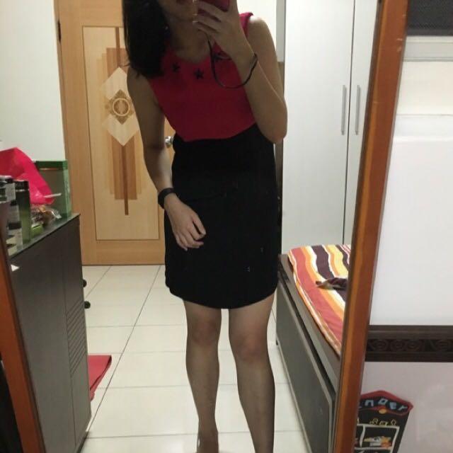 (9成新)韓國撞色卯釘拉鍊洋裝