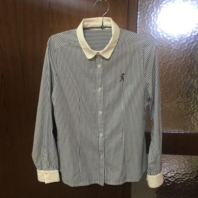 日系品牌藍色條紋襯衫