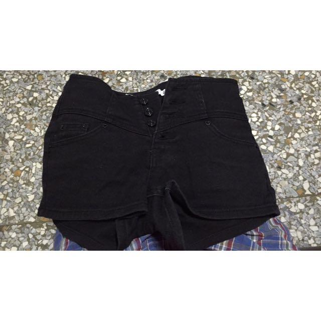 黑色四排扣高腰褲