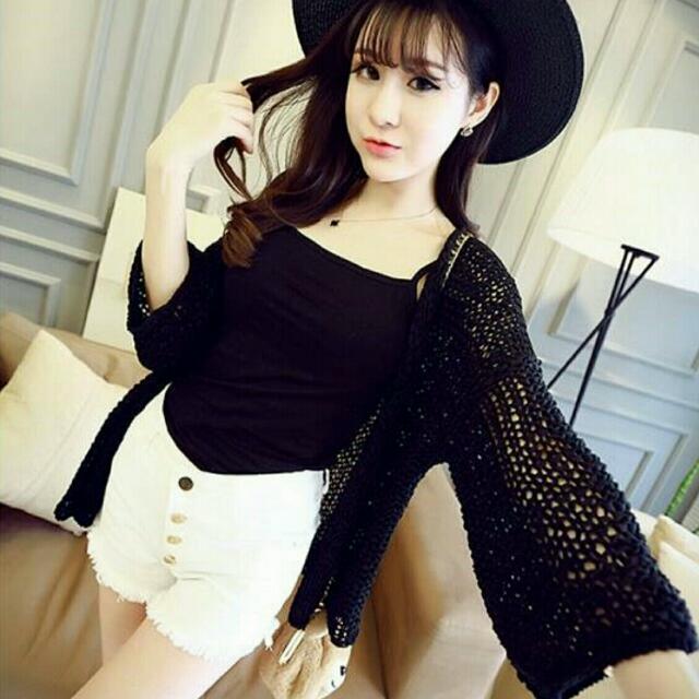 冰絲線織罩衫-黑2