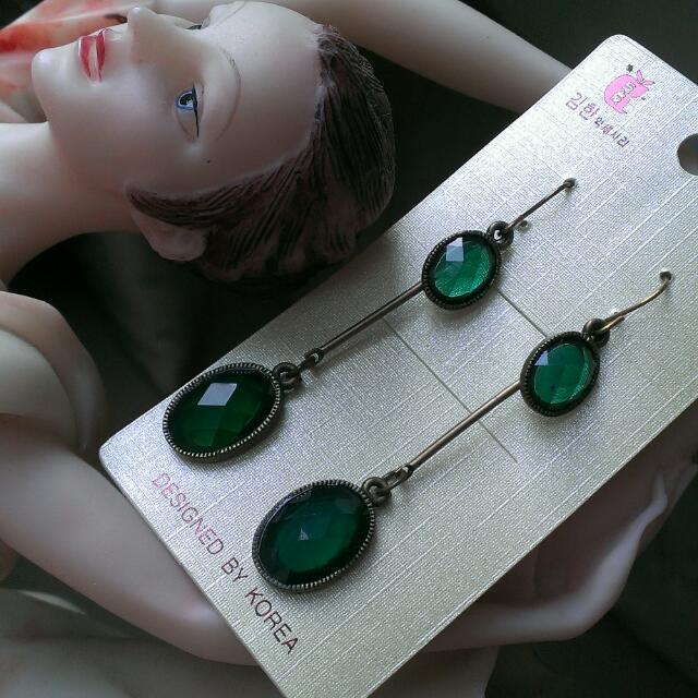 🎆黑貓免運🎆 古典耳環,古銅色配湖水綠,全新