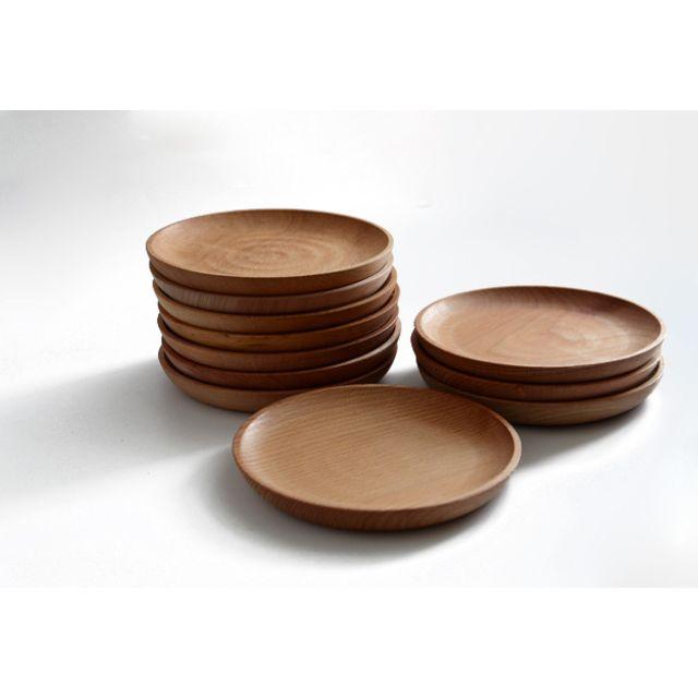 ☆舒庭生活館☆木質系 櫸木圓形餐盤/冷盤沙拉盤 16cm1入