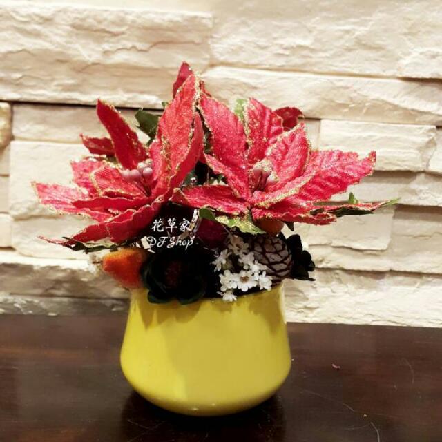 聖誕節 人造花 乾燥花 桌花 裝飾