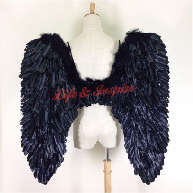 暗黑天使黑色翅膀道具 合翅版 惡魔地獄使者 真人尺寸車展派對 80*80
