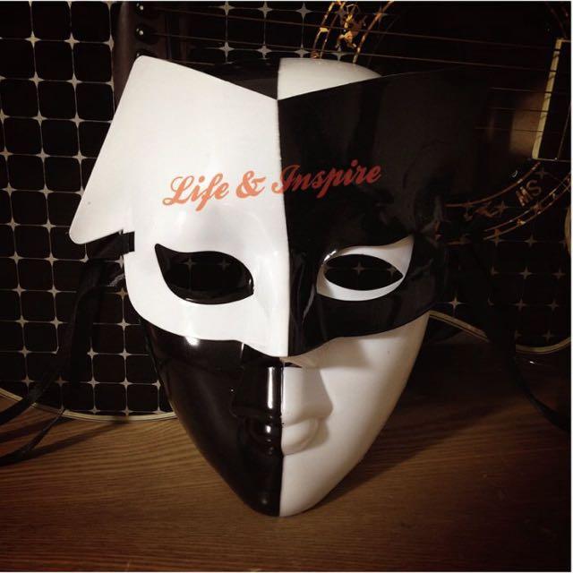 化裝舞會時尚男女黑白氣質搭配面具 黑白撲克小丑街舞面具 舞臺劇COSPLAY 狂歡節嘉年華會 夜店打扮