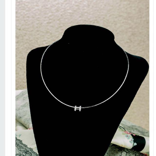 正韓 歐美時尚H字母滿版鑽飾項鍊含運$390