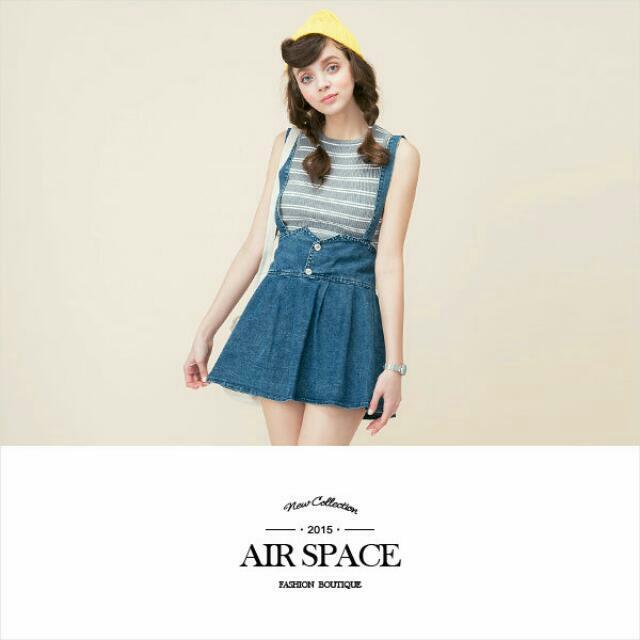 Air Space 牛仔 高腰 吊帶裙