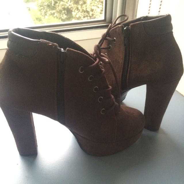 REDUCED Brown Suede Lace Up Heels