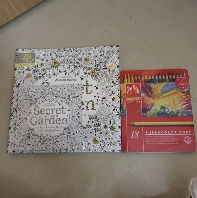 秘密花園繪圖本+Catania d'ache專家級水溶性色鉛筆