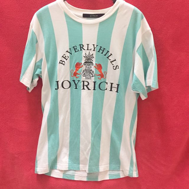 JOYRICH FW2014 湖水綠 短袖直條紋 T-shirt