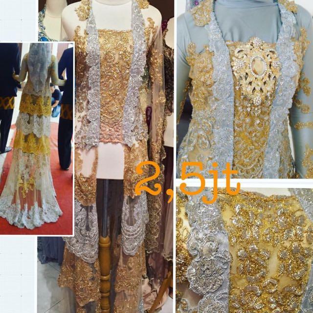 Kebaya Pengantin Preloved Gold Silver Size M Full