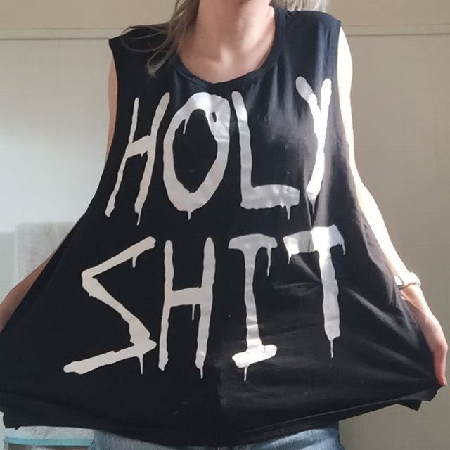 Size Small Oversized Holy Shit Print Tee