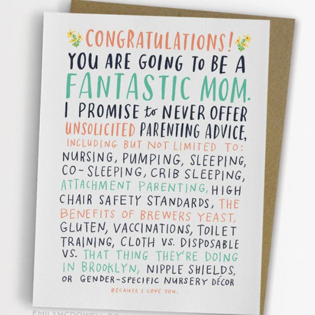 UNSOLICITED PARENTING ADVICE BABY CARD by Emily McDowell Studio