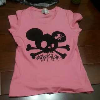 香港迪士尼 HONG KONG Disneland 正貨 真品 粉紅米奇骷髏頭 低調可愛T-shirt 女生版 9成新