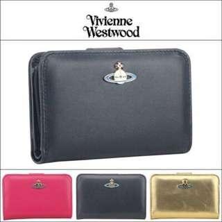 Vivienne Westwood彩色土星羊皮搭扣 兩折錢包