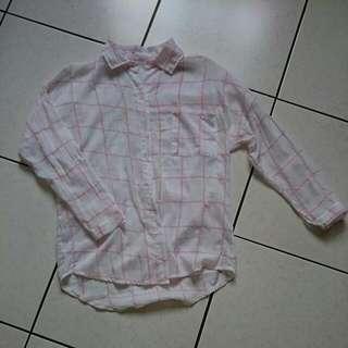 甜美💮粉格子襯衫
