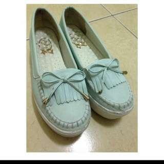 水藍厚底鞋