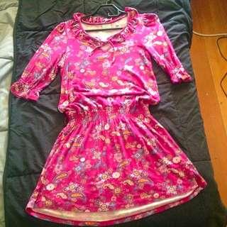 Pink, 3/4 Sleeve Dress